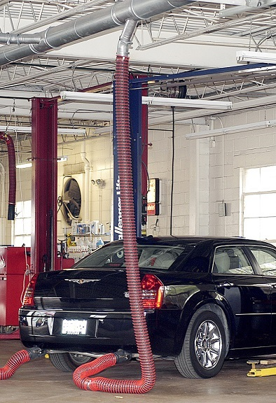 Vehicle Exhaust Removal Systems in an auto body shop.