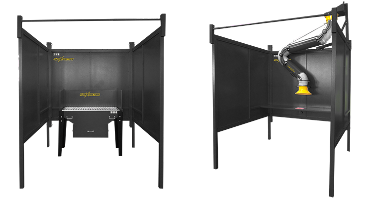 FumeXtractors Welding Booth show with downdraft table and fume arm.